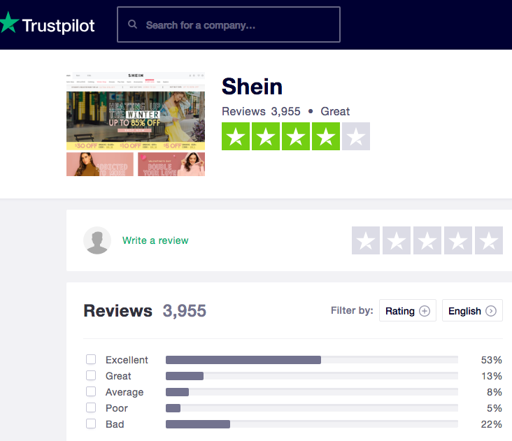 01a1c55ed1 Shein Customers' reviews we found at Trustpilot: